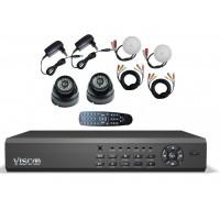 Viscoo CCTV Kit 3127 Camerabewaking met 4 kanaals recorder en 2 Dag en nacht IR camera's