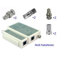 Multi Kabeltester UTP, FTP, SFTP (RJ11/12/45) en Coax kabel
